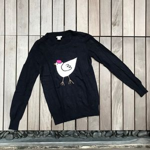 J CREW Navy Bird Crew Neck Long Sleeve Sweater